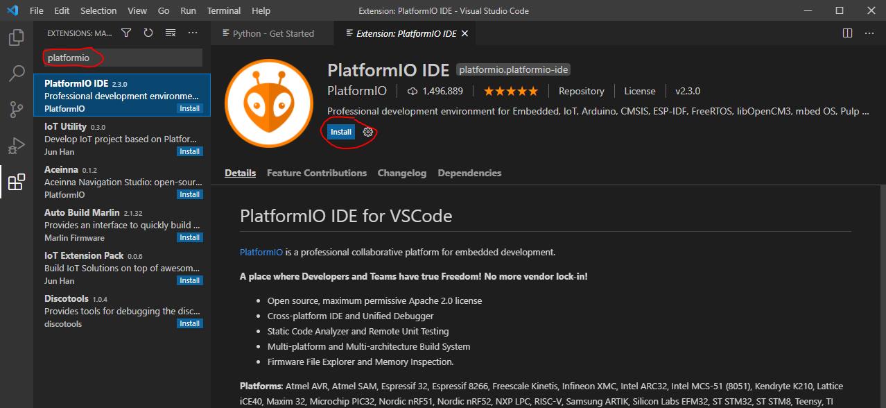 Install Platform IO Extension in VS Code